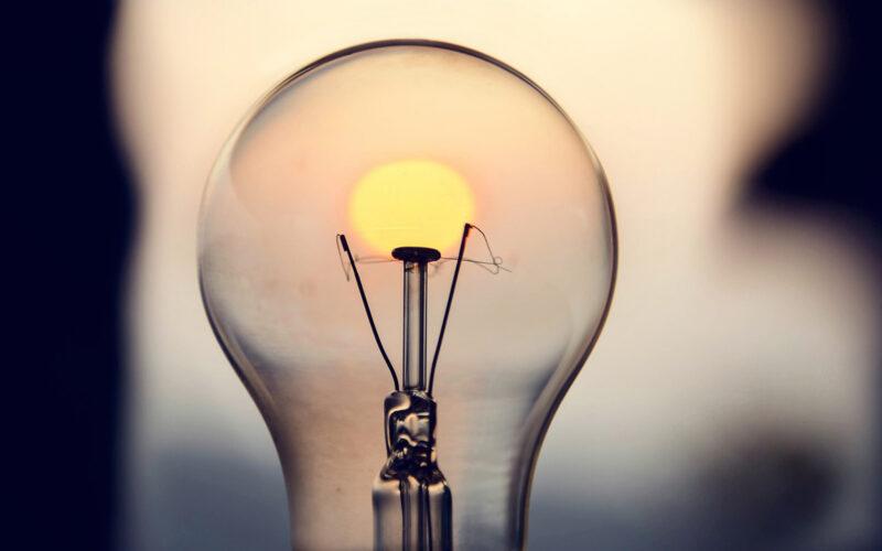 Lightbulb in the sunset